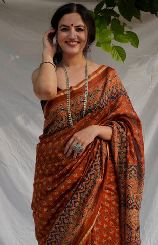 Brick Red Chanderi Saree