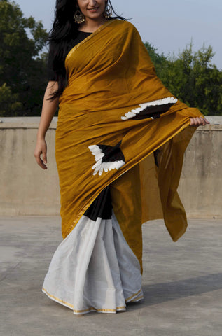 Mustard Handpainted Bird Print Saree
