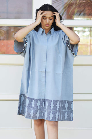 Grey Handblock Printed Shirt Dress