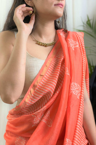 Peach Chanderi Saree