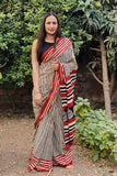 Madder Black Block print Cotton Saree