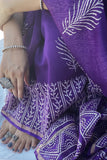Violet Blockprint Chanderi Saree