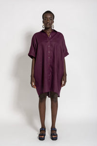 Linen Shirt Dress- Maroon