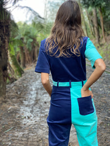 Two-Tone Boiler Suit- Navy & Turquoise