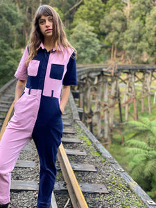 Two-Tone Boiler Suit- Navy & Pink