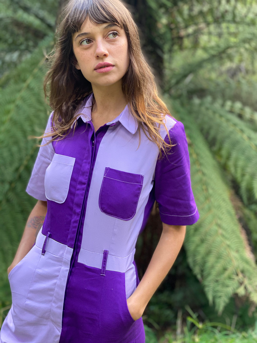 Two-Tone Boiler Suit- Purple & Lilac