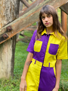 Two-Tone Boiler Suit- Purple & Yellow