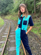 Load image into Gallery viewer, Two-Tone Boiler Suit- Navy & Turquoise