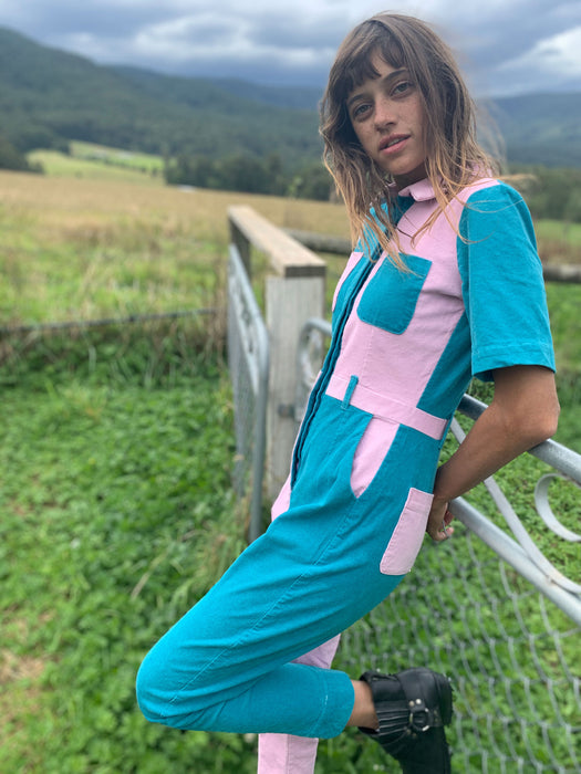 Two-Tone Boiler Suit- Blue & Pink