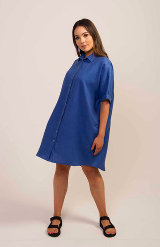 Linen Shirt Dress- Blue