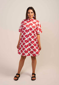 Batwing Shirt Dress- Lips