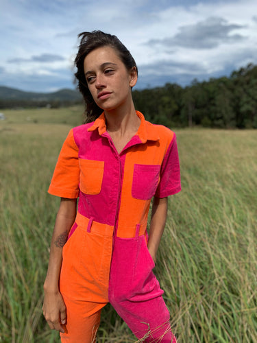 Two-Tone Boiler Suit- Orange & Pink