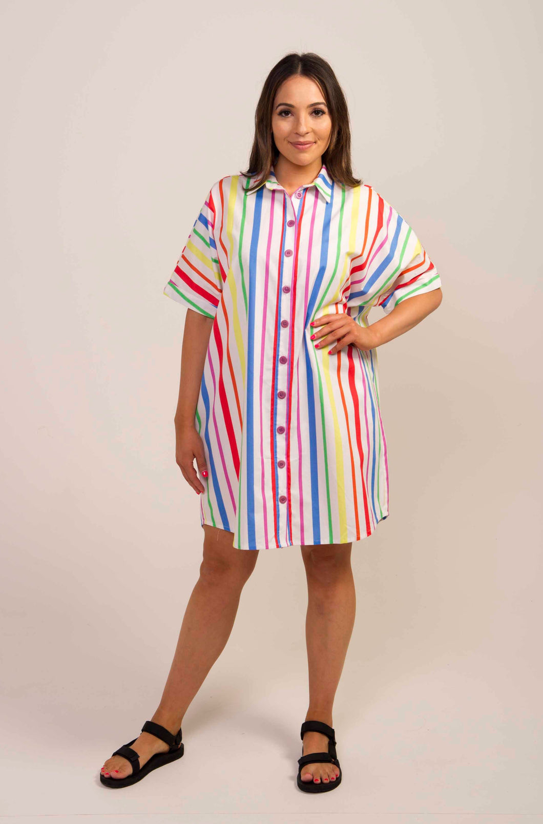 Batwing Shirt Dress- Stripe