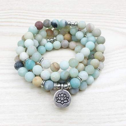 Buddhist Natural Amazonite Lotus Mala-Beyoubebuddha