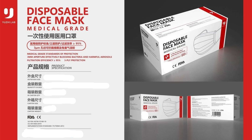 Medical Grade Disposable Face-mask >95% 50-Pack