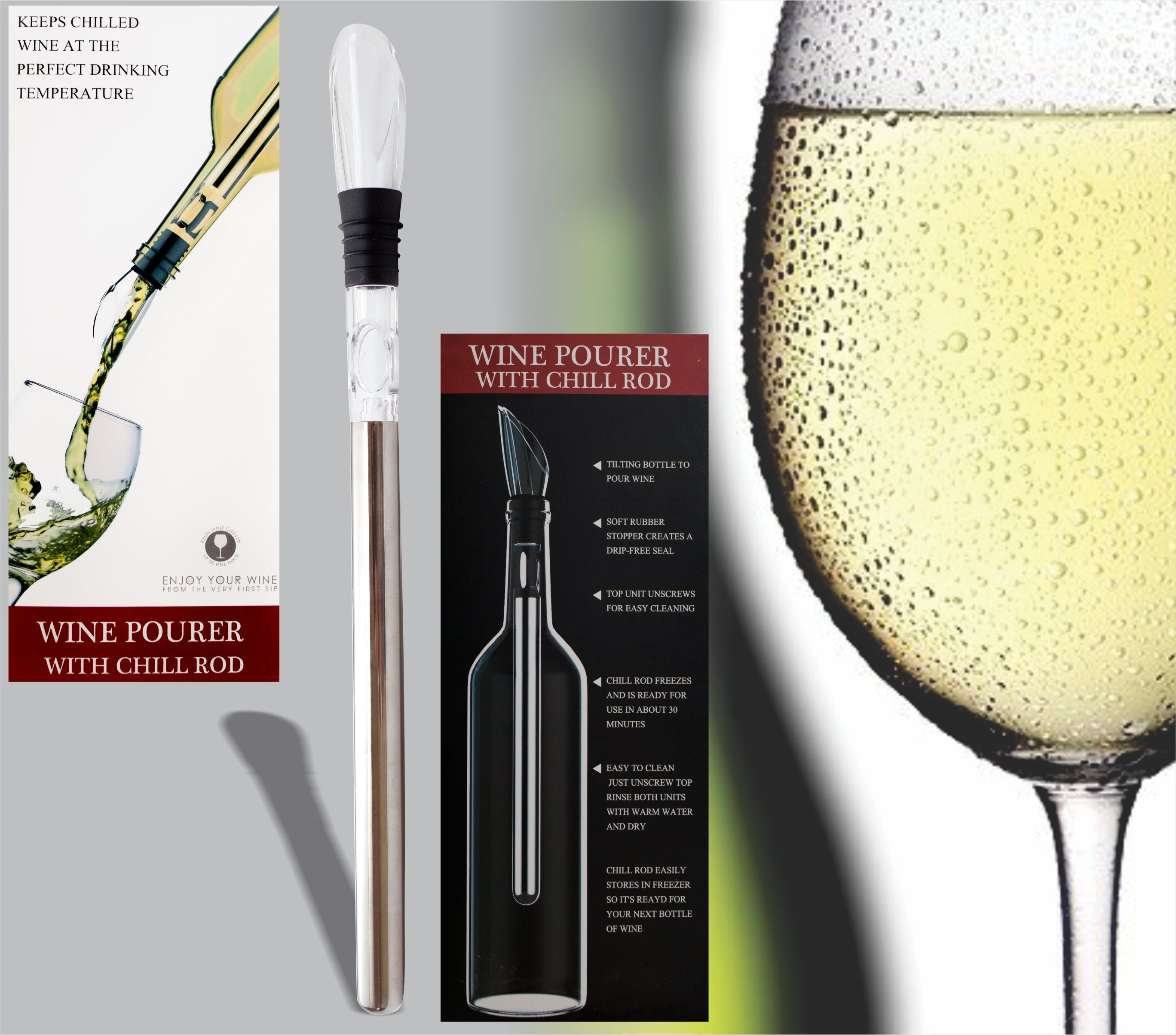 Wine Chiller 3-in-1 Stainless Steel Wine Bottle Chiller Stick with Aerator and Pourer