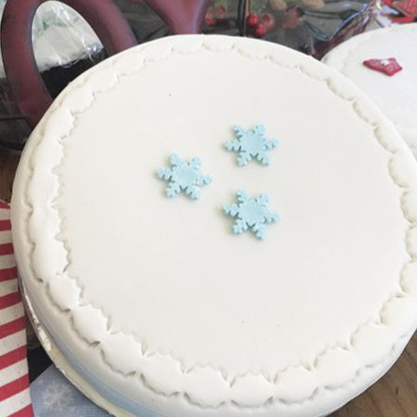 Christmas Cake - iced with Pettinice and Marzipan with Blue Detail