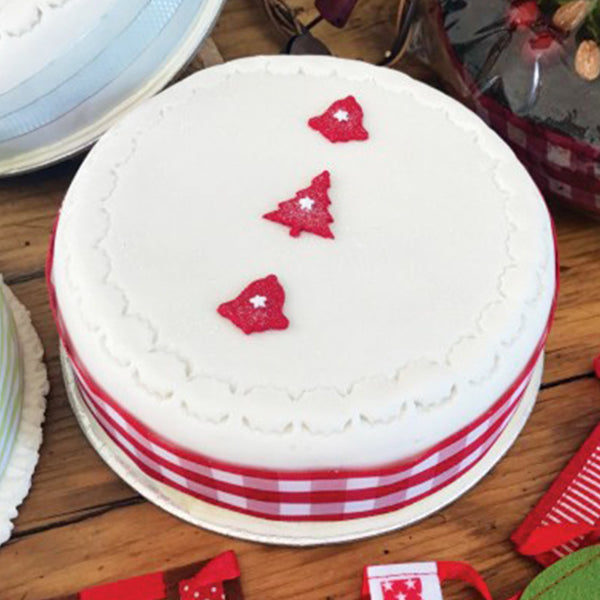 Christmas Cake - iced with Pettinice and Marzipan with Red Detail