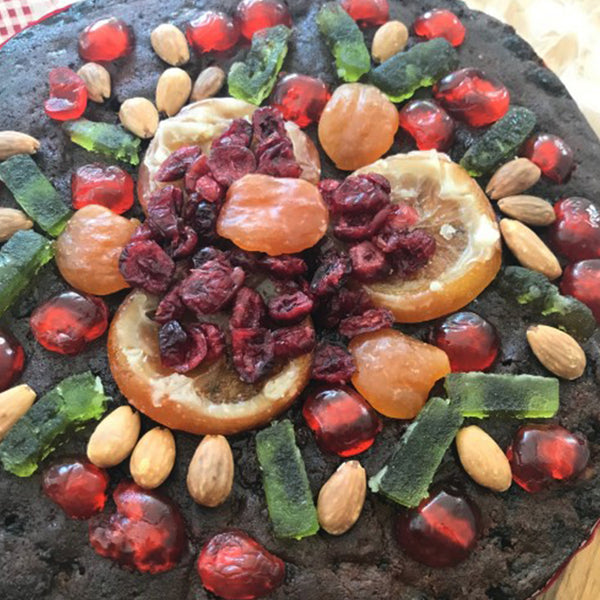 Christmas Cake topped with Glace Fruit