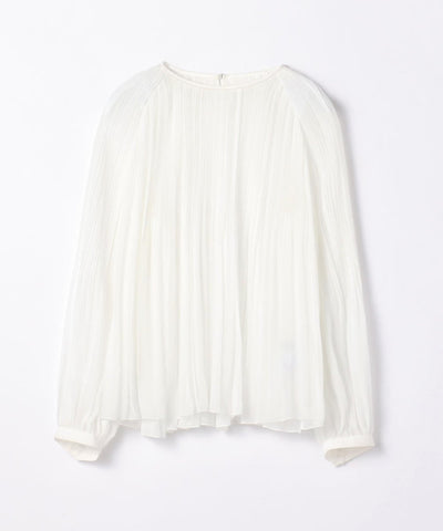 Light pleated crew neck blouse
