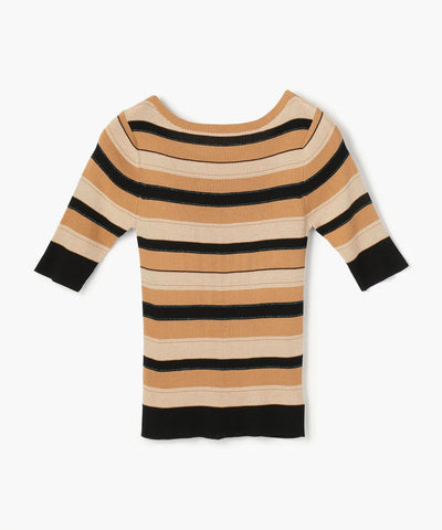 Cotton Silk Rib Boat Neck Pullover