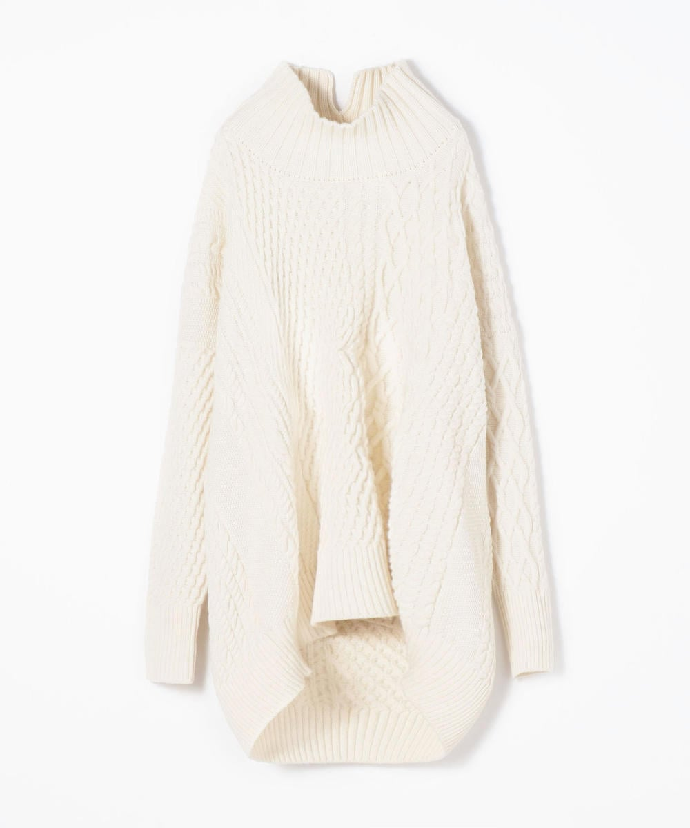 Air Yarn Wool Cable High Neck Pullover Sweater