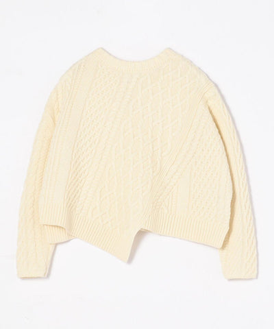 Air Yarn Cable Asymmetrical Sweater