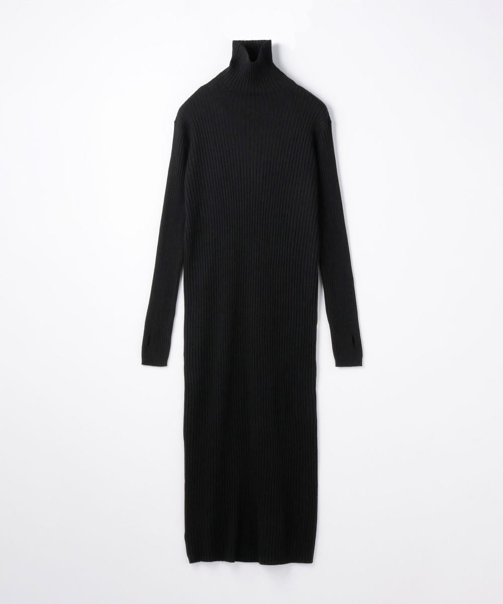 Worsted  Wool Rib High Neck Dress