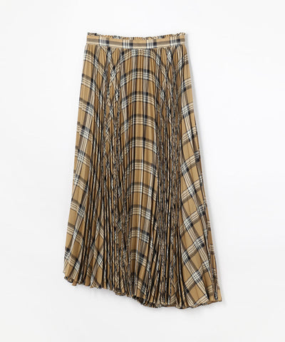 Voile Check Pleated Skirt