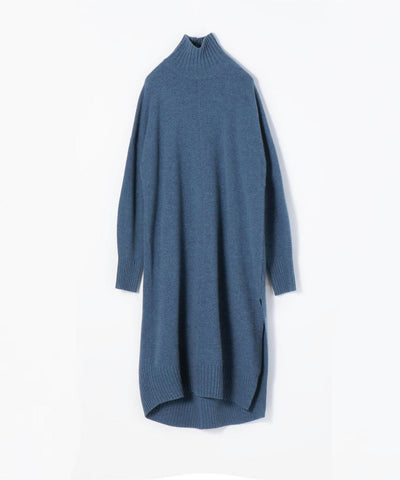 Wool Cashmere Turtleneck Knit Dress