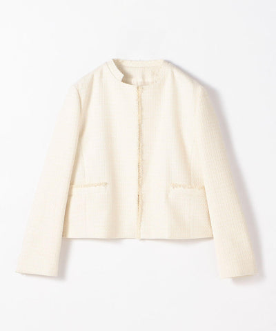 Lurex Tweed Collarless Jacket
