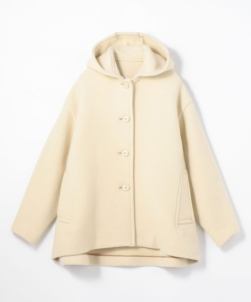 Wool stretch hooded short coat