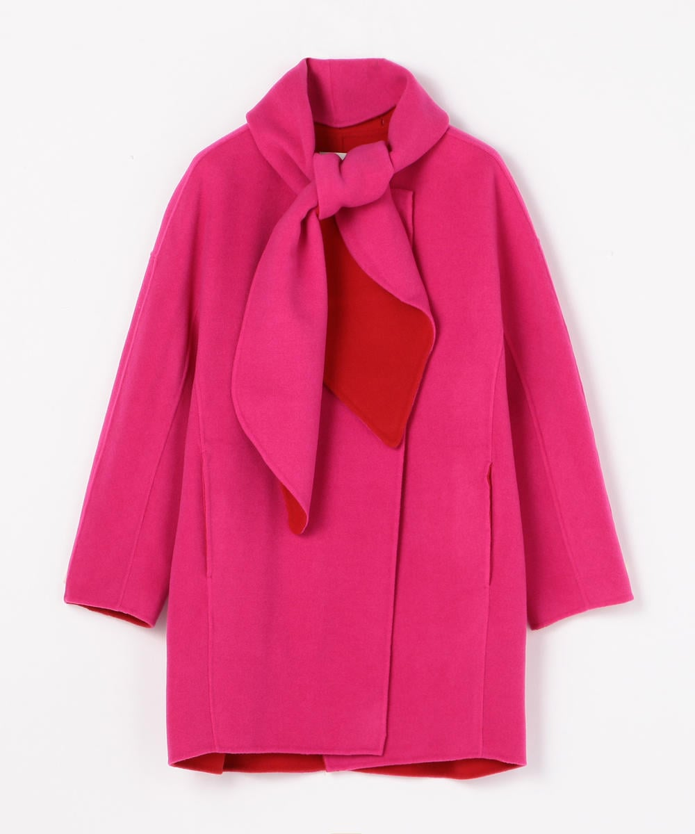 Wool double face Collarless coat with scarf