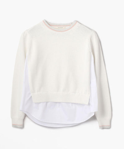 Macphee Knit Blouse Combo Top White