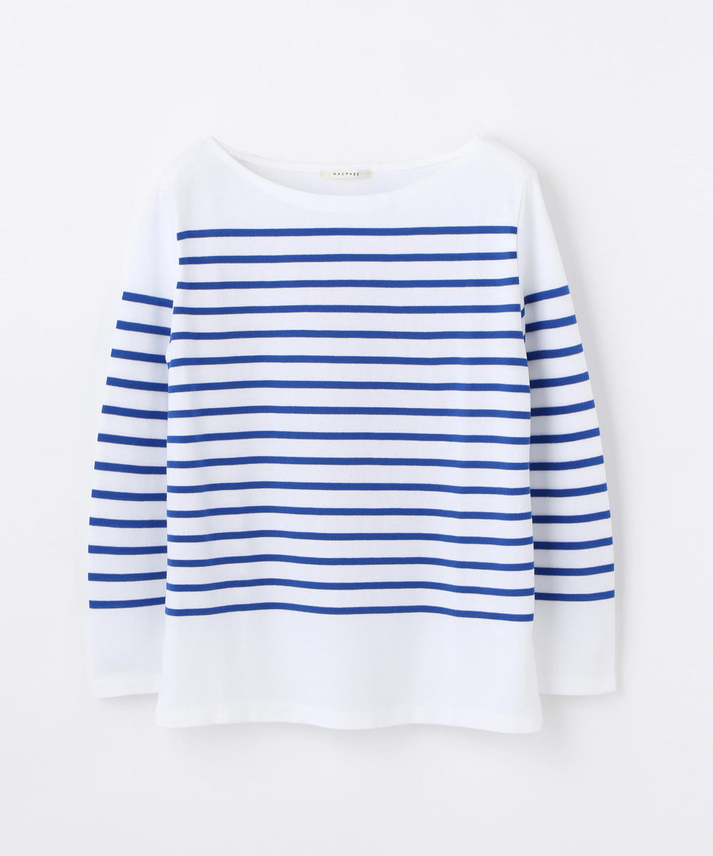 Striped Border Long Sleeve Top White and Blue