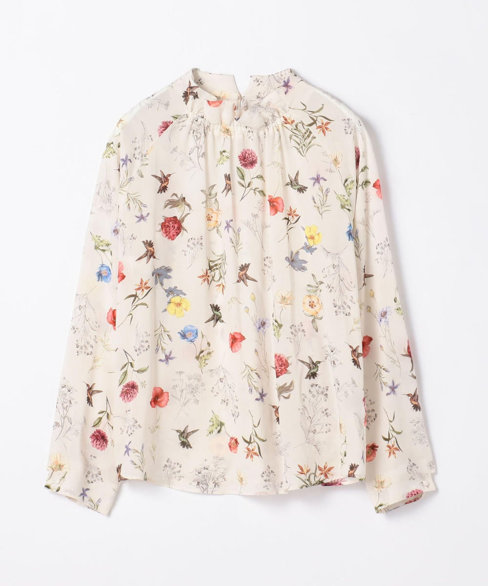 TOMORROWLAND collection Botanical Card Print High Neck Gather Blouse