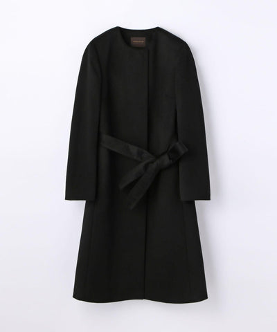 Pure Cashmere Belted Collarless Coat