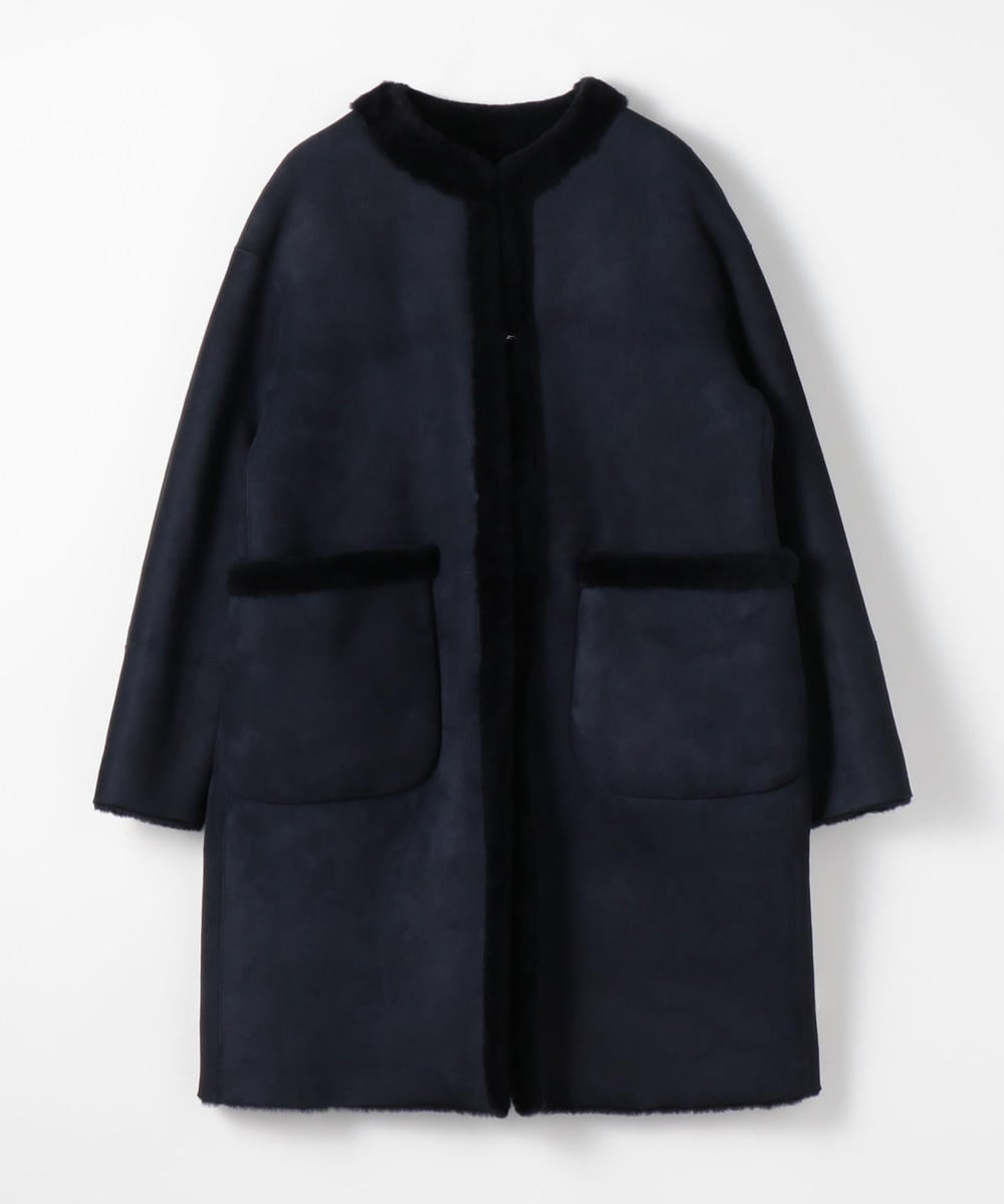 TOMORROWLAND Reversible Merino Shearling Collarless Coat