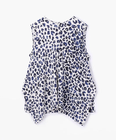 Des Pres Leopard Print Square Flare Sleeveless Blouse