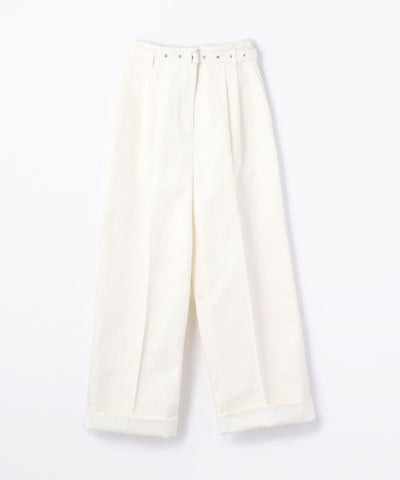 Des Pres Cotton Rayon Denim Bertard Wide Pants White