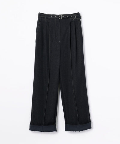 Des Pres Cotton Rayon Denim Bertard Wide Pants Navy