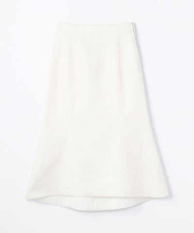 Des Pres Cotton Rayon Denim High West Skirt White