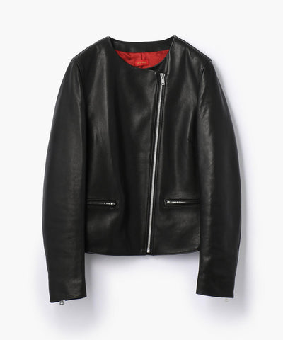 Des Pres Lambskin Leather Collarless Jacket