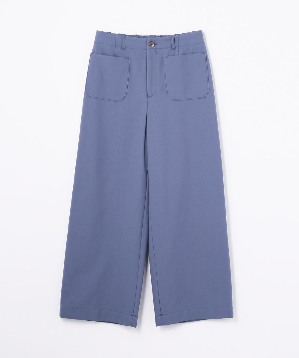 Galerie Vie Cotton Silk back gathered Marine Pants Blue