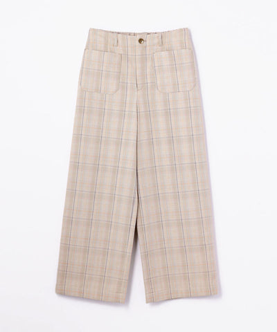 Galerie Vie Cotton Silk back Gathered Plaid Marine Pants Beige