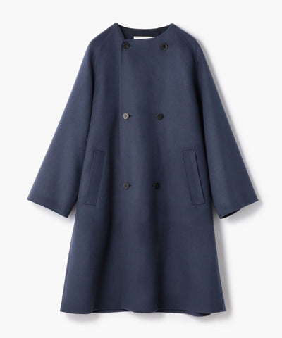Galerie Vie Wool Double Face Double Breasted Collarless Coat