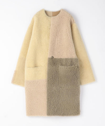 GALERIE VIE Patchwork Mouton no-color reversible coat
