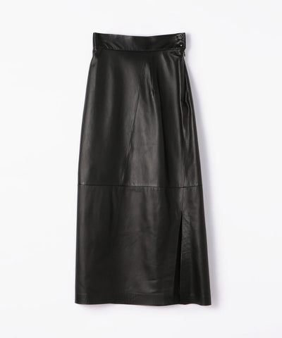 BACCA Lamb leather side slit long skirt