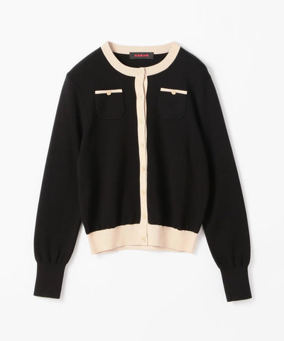 CABaN Cotton cashmere dual color crew neck cardigan Black