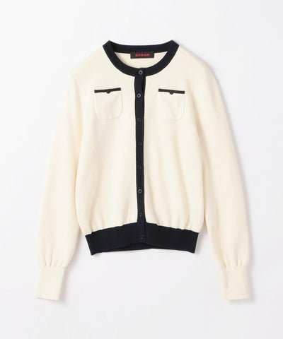 CABaN Cotton cashmere dual color crew neck cardigan White